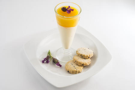 Bavarois with lavender biscuits