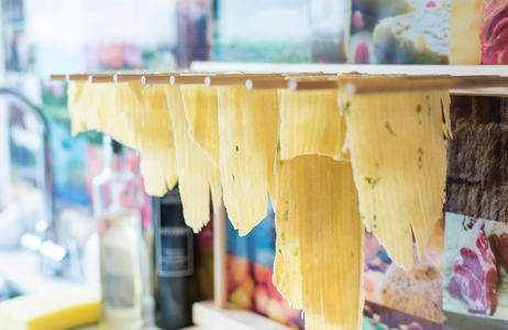 Homemade tagliatelle drying