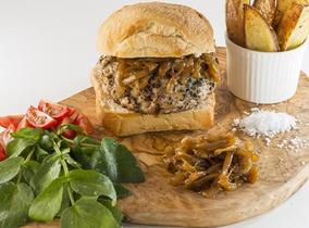2013 Create & Cook finalists recipes - Naomi's Pork, Apple and Sage Burgers with Caramelised Onions